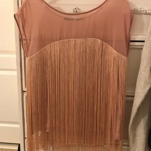 NWOT Small Ark & Co Pink Fringe Top
